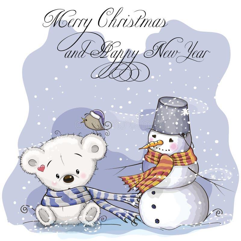 Urso e boneco de neve ilustração stock