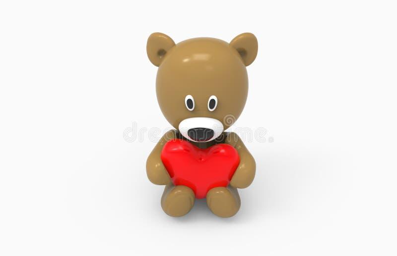 Urso e coração imagem de stock
