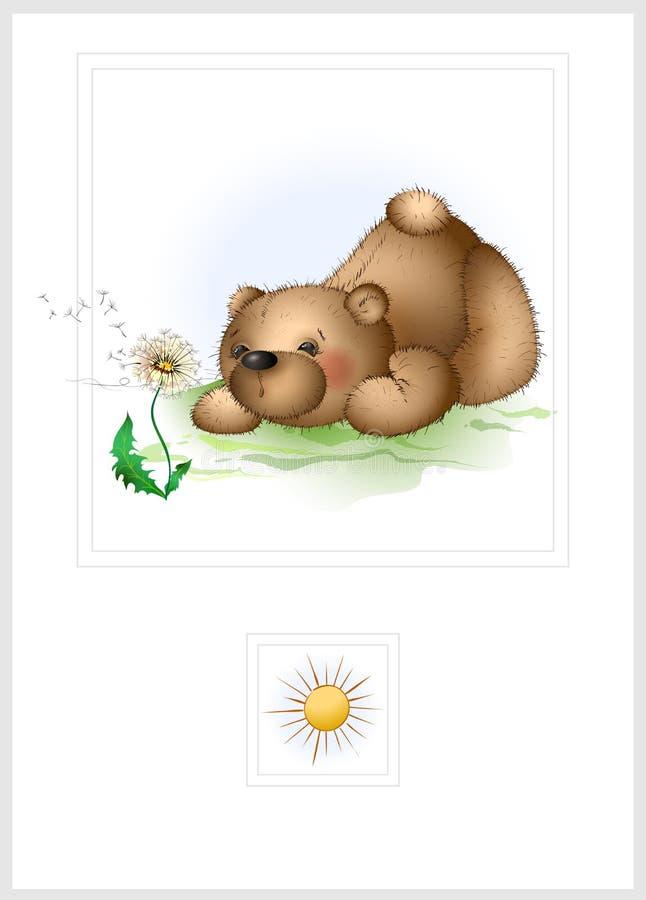 Urso e dente-de-leão de peluche ilustração do vetor