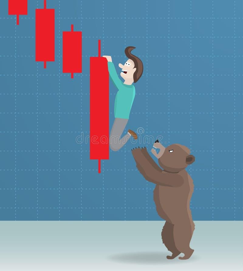 Urso e diminuição do mercado de valores de ação ilustração stock
