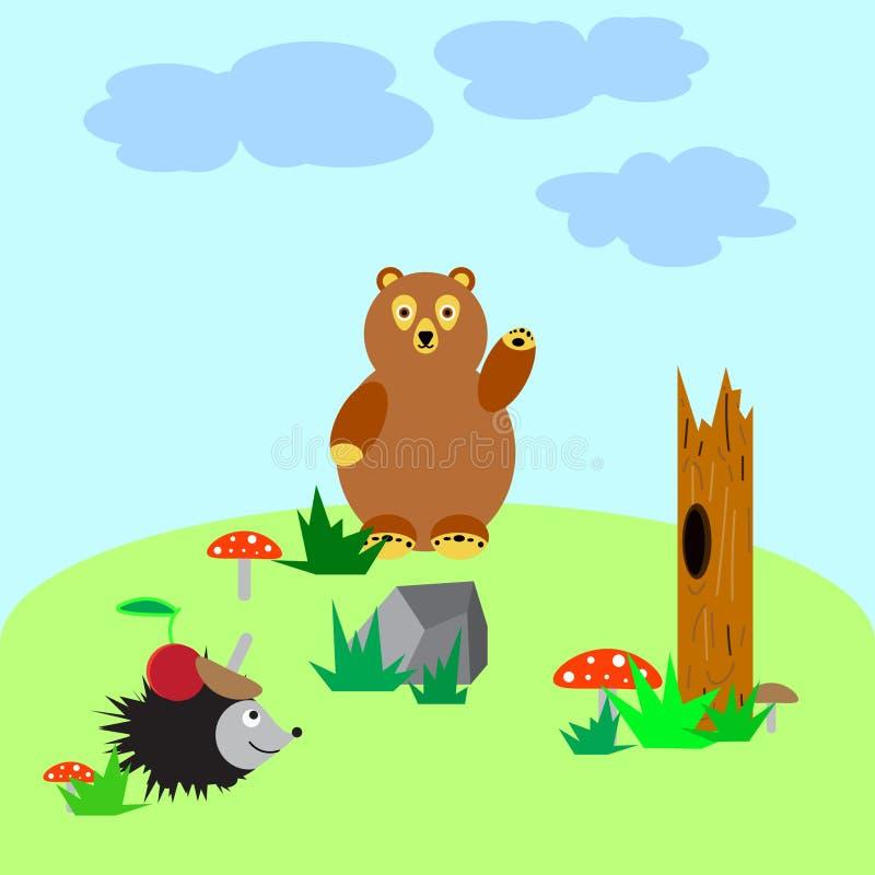 Urso e hedgehog imagem de stock royalty free
