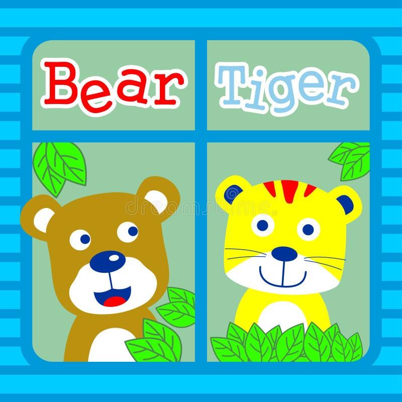 Urso e tigre ilustração do vetor