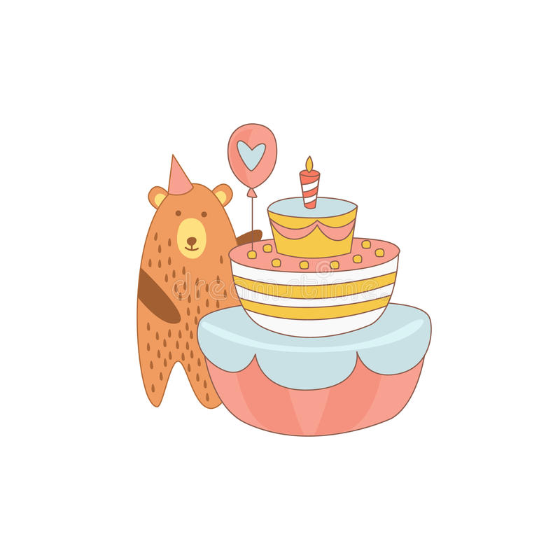Urso e um bolo de aniversário gigante ilustração do vetor