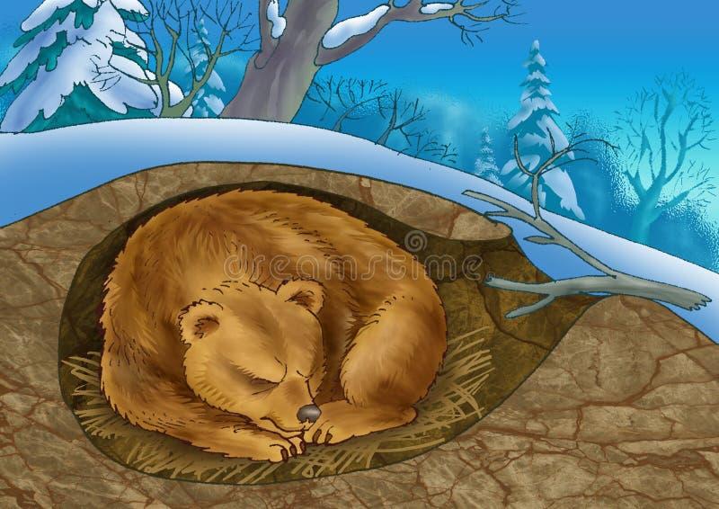 Urso em um antro ilustração stock