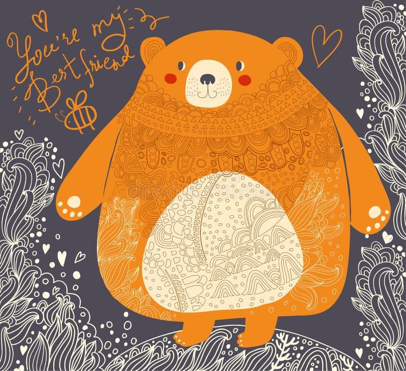Urso engraçado ilustração royalty free