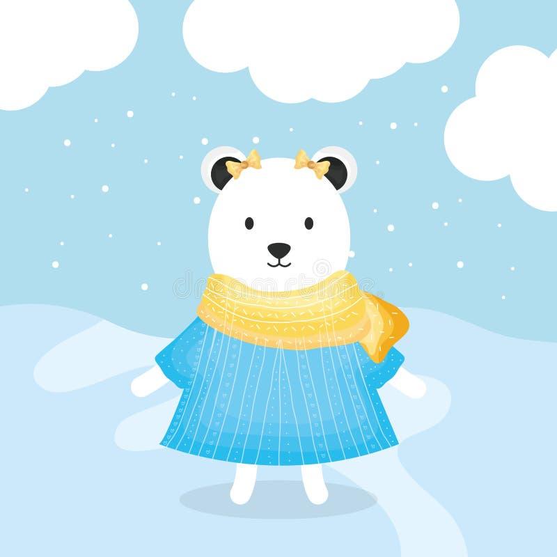 Urso fêmea bonito polar com caráter da roupa ilustração royalty free