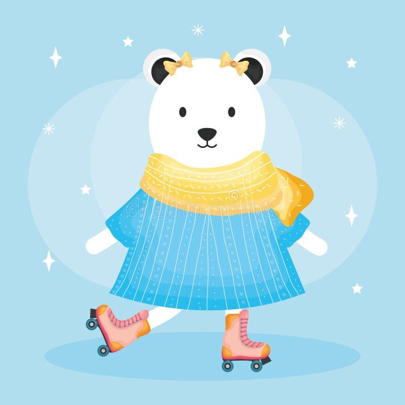 Urso fêmea bonito polar nos patins ilustração do vetor