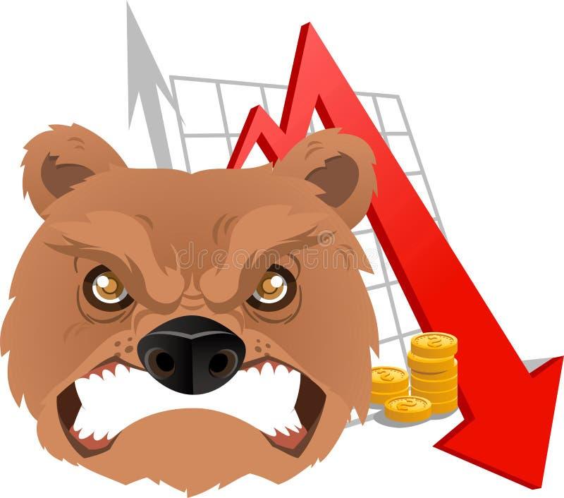 Urso irritado do mercado de valores de ação do comerciante furioso no stats vermelho da seta da economia ilustração do vetor