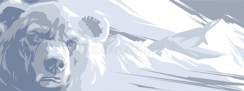 Urso irritado nas montanhas nevado ilustração stock