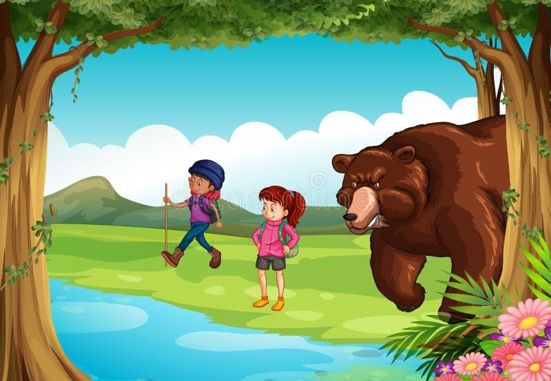 Urso médio e dois caminhantes na floresta ilustração stock