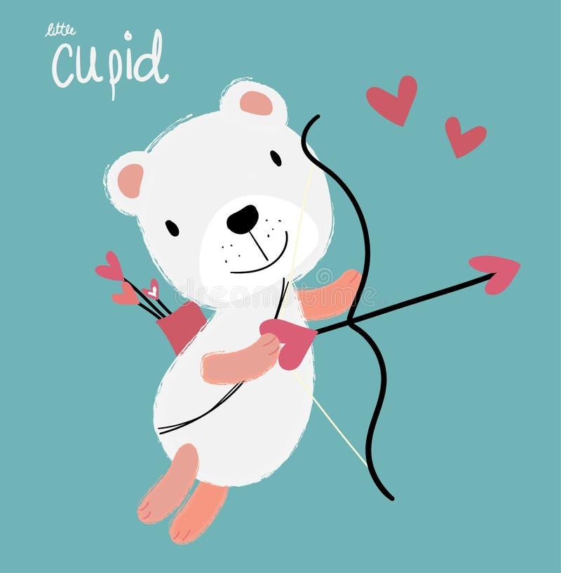 urso macio branco do cupido bonito que voa com seta do coração, cartão do amor ilustração royalty free