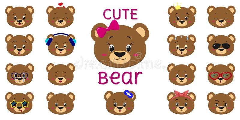 Urso marrom bonito, grupo mega de cabeça de emoções diferentes Estilo dos desenhos animados, projeto liso, ilustração do vetor ilustração stock