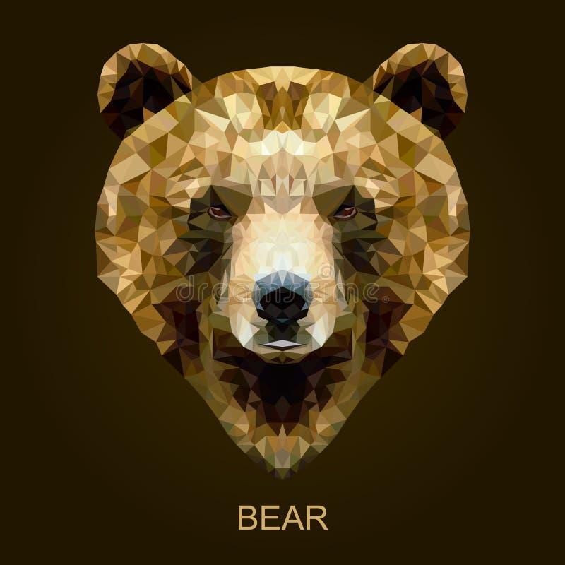 Urso marrom do vetor moderno no estilo poligonal ilustração do vetor