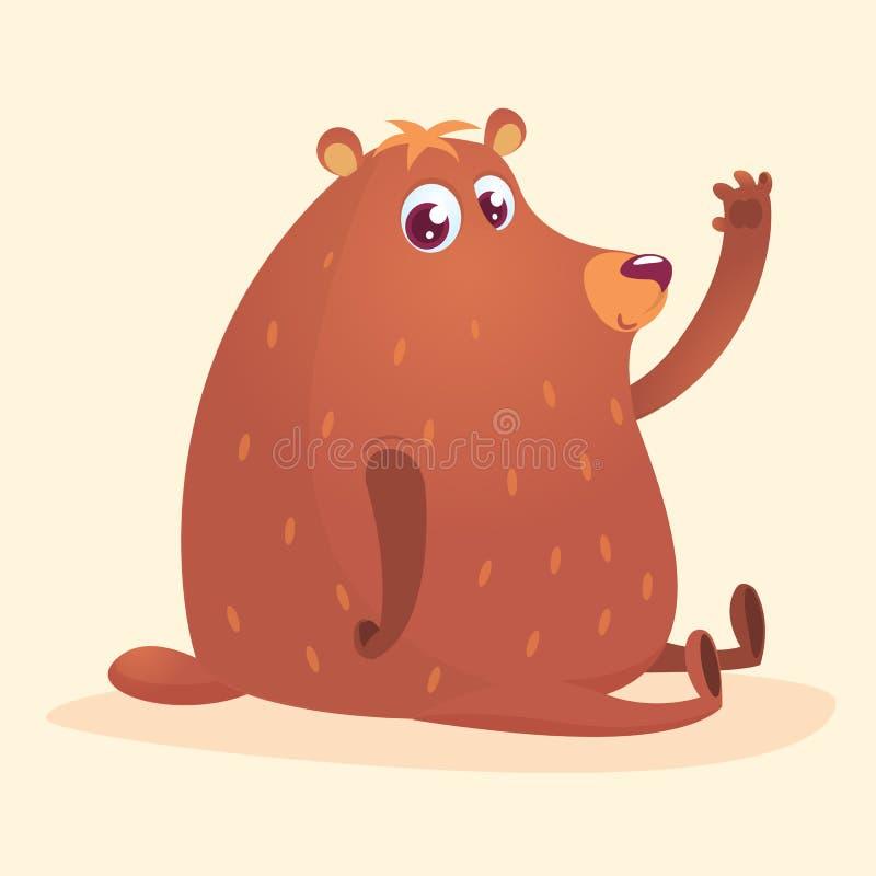 Urso marrom dos desenhos animados felizes Coleção selvagem do animal da floresta Matriz e bebê em educar a sessão Isolado Fundo b ilustração do vetor