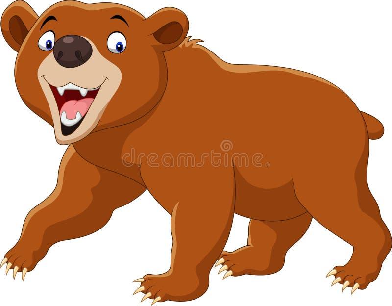 Urso marrom dos desenhos animados isolado no fundo branco ilustração royalty free
