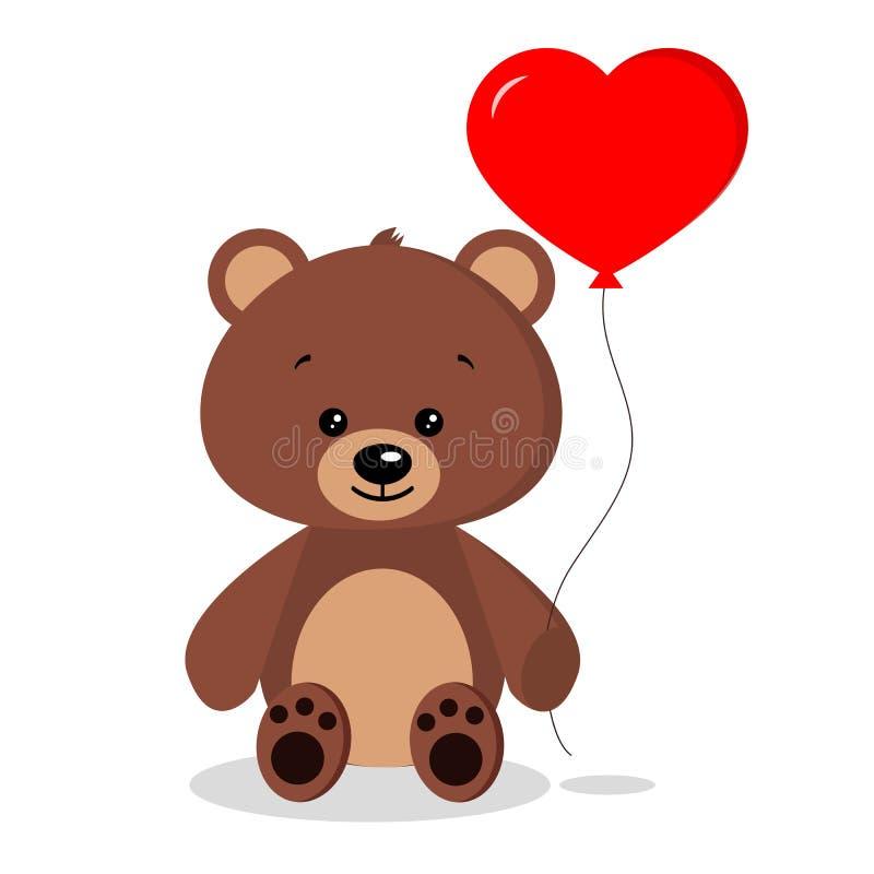 Urso marrom romântico bonito isolado com o balão vermelho na pose de assento no fundo branco no estilo liso dos desenhos animados ilustração do vetor
