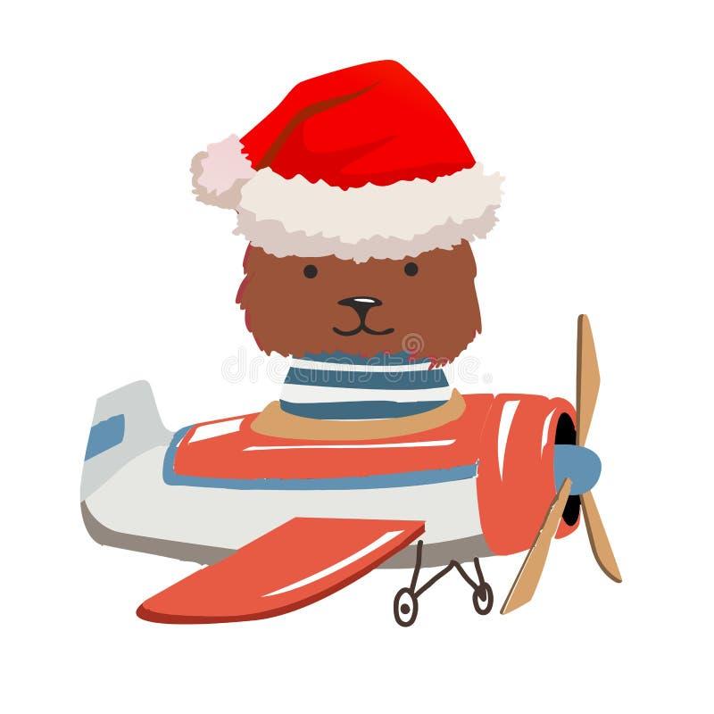 Urso Mosca animal dos desenhos animados em um avião Imagem para a roupa das crianças, cartão ilustração do vetor
