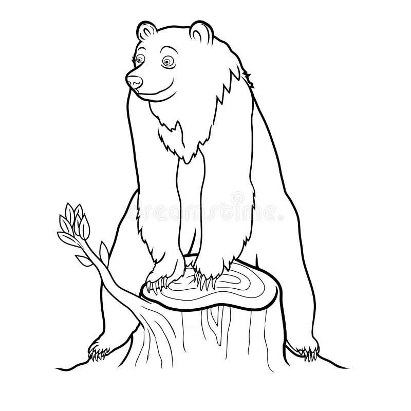 Urso na base do esboço da árvore fotos de stock royalty free