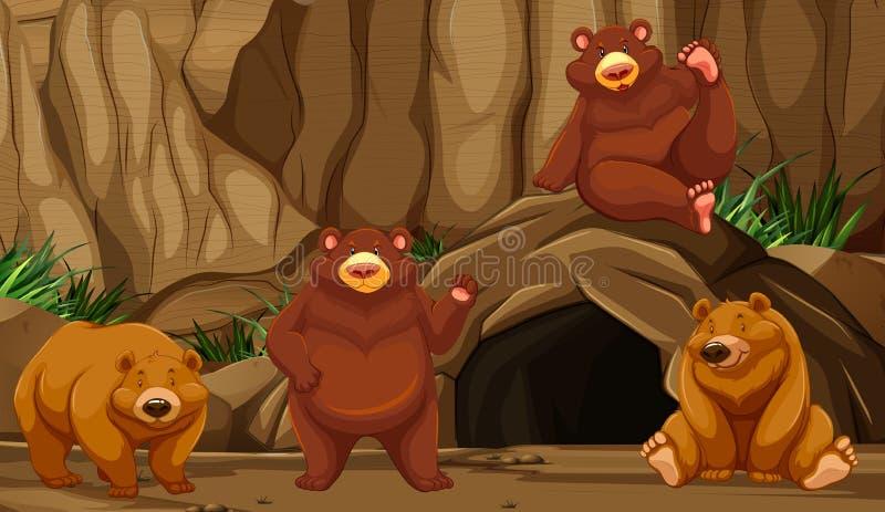 Urso na caverna da montanha ilustração royalty free