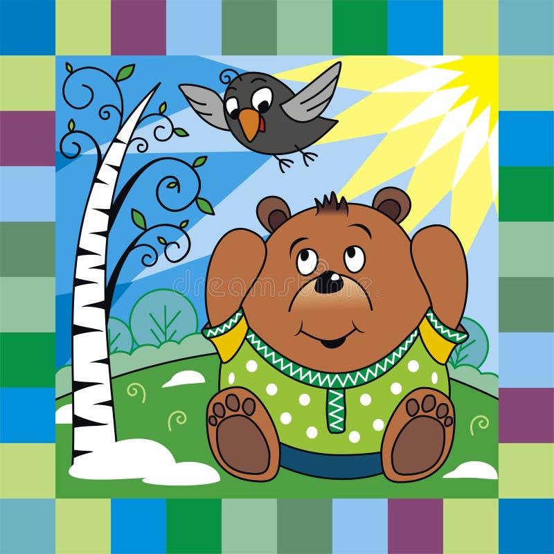 Urso na mola ilustração royalty free