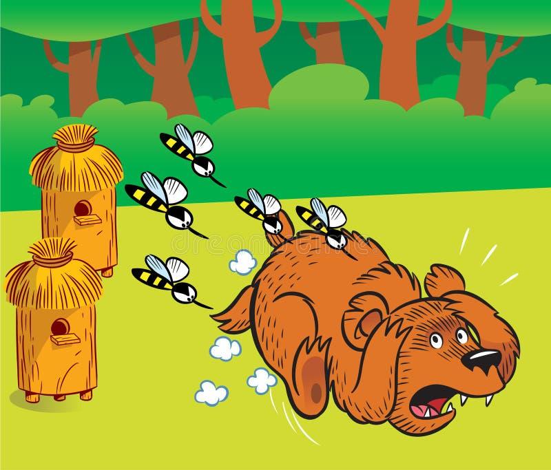 Urso no apiary ilustração royalty free
