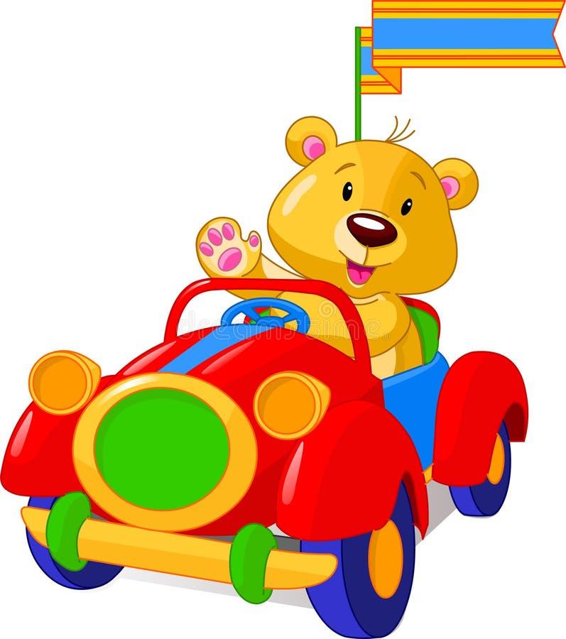 Urso no carro do brinquedo ilustração do vetor