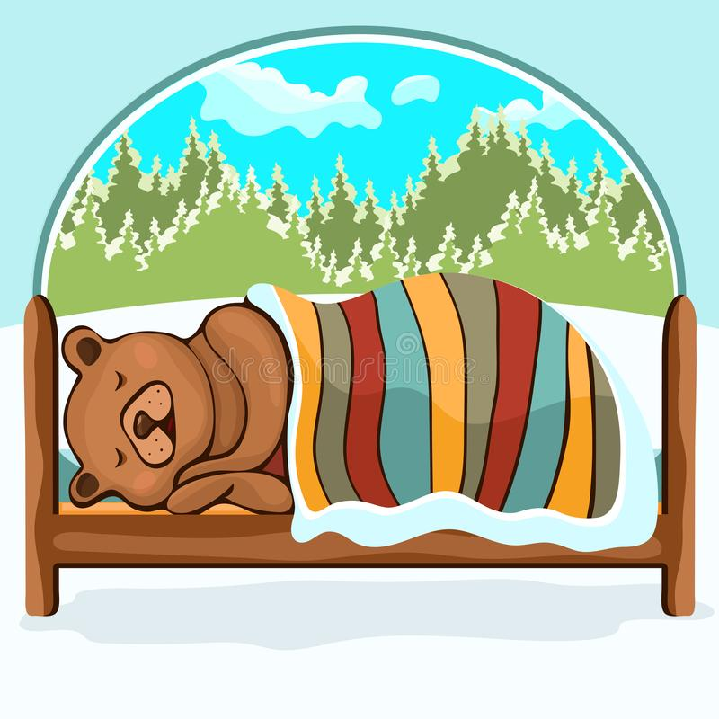 Urso no desenho da mão da hibernação, personagem de banda desenhada, ilustração do vetor, caricatura Peluche engraçada bonito côm ilustração stock