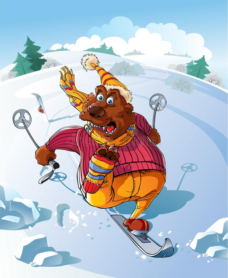 Urso no esqui ilustração do vetor
