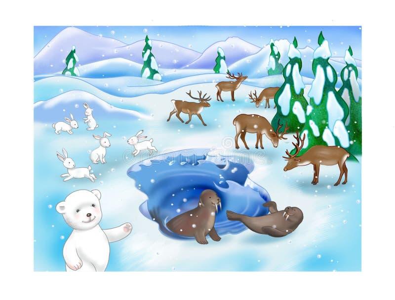 Urso no norte ilustração royalty free