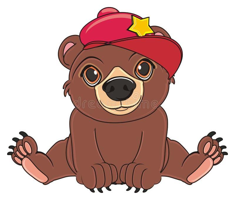Urso no tampão ilustração do vetor