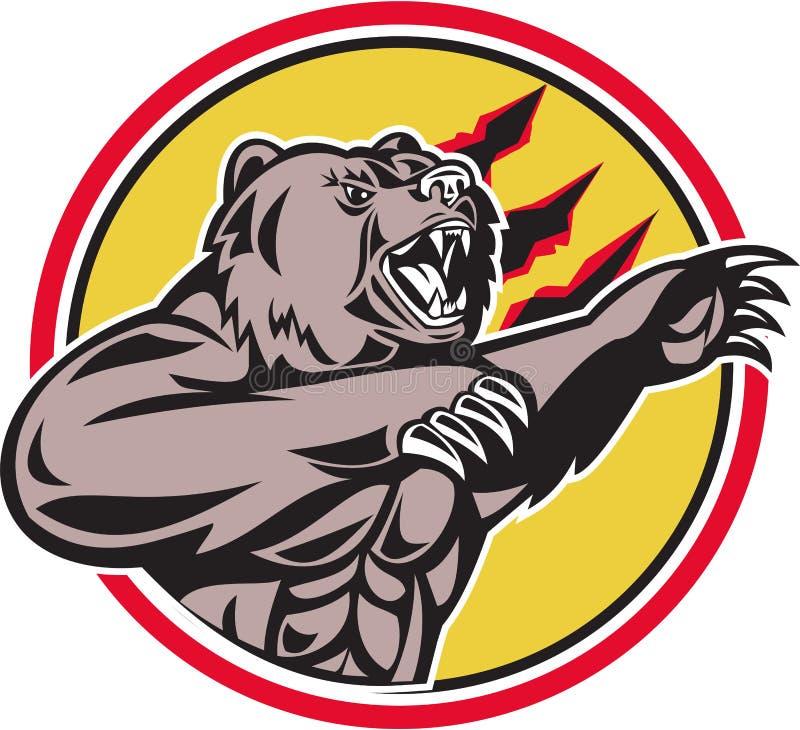 Urso pardo de Califórnia que Swiping Paw Circle Retro ilustração stock