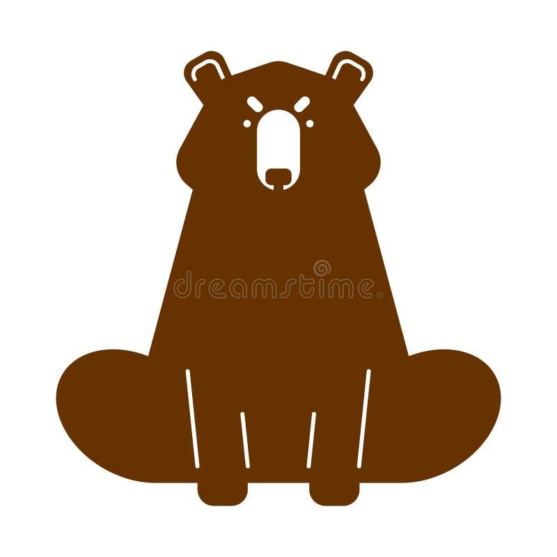 Urso pardo isolado Predador selvagem Ilustração do vetor ilustração do vetor