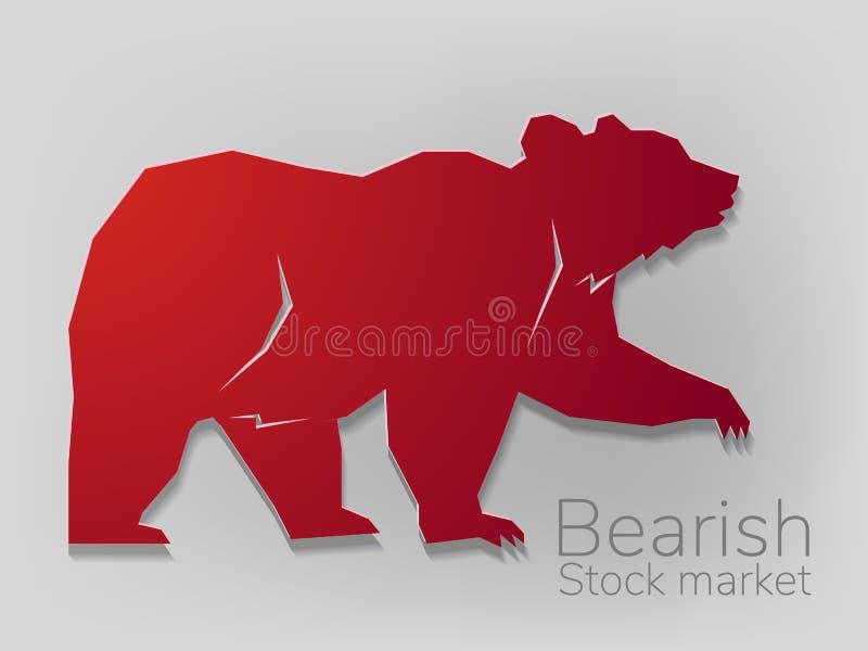 Urso pardo na tendência bearish do corte de papel geométrico, na troca da tecnologia para o mercado de valores de ação, na arte d ilustração do vetor
