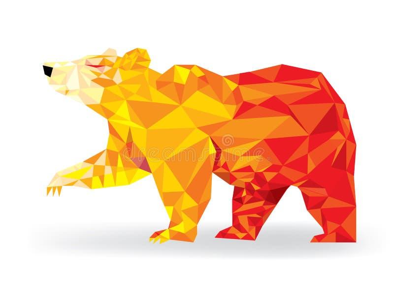 Urso pardo na tendência bearish polígono geomeyric do teste padrão do baixo, te ilustração stock