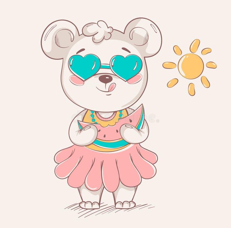 Urso pequeno bonito na saia e em óculos de sol coloridos ilustração do vetor