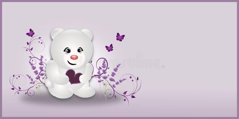 Urso pequeno da alfazema branca ilustração royalty free