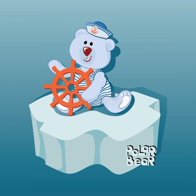 Urso pequeno do marinheiro em uma banquisa de gelo ilustração stock