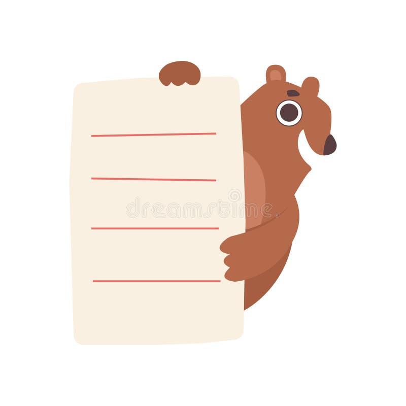 Urso pequeno que guarda a folha de papel alinhada vazia o animal, bonito dos desenhos animados com ilustração vazia do vetor da p ilustração do vetor
