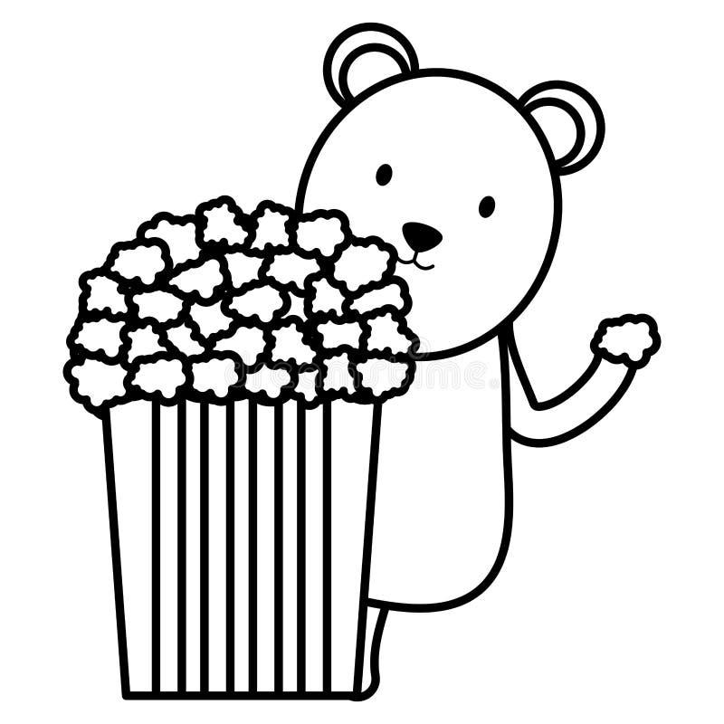Urso polar bonito com caráter criançola da pipoca ilustração royalty free