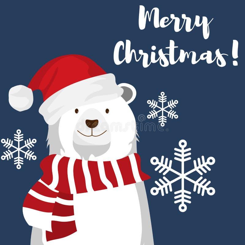 Urso polar bonito com chapéu e floco de neve de Santa sob o texto do Feliz Natal ilustração do vetor