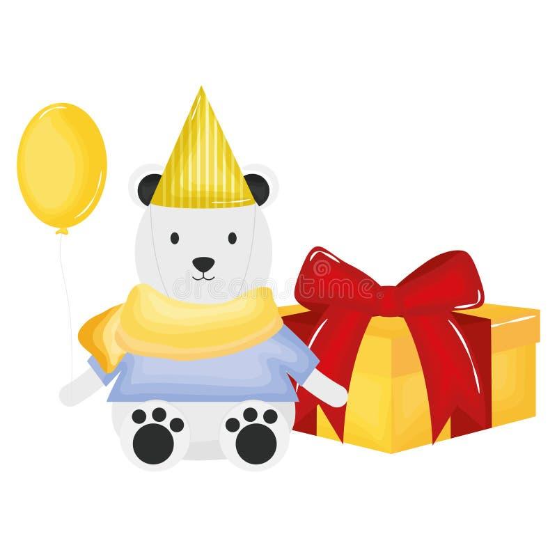 Urso polar bonito com giftbox na festa de anos ilustração do vetor