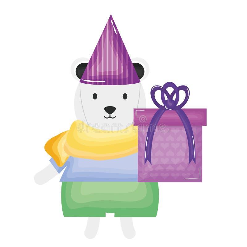 Urso polar bonito com giftbox na festa de anos ilustração stock