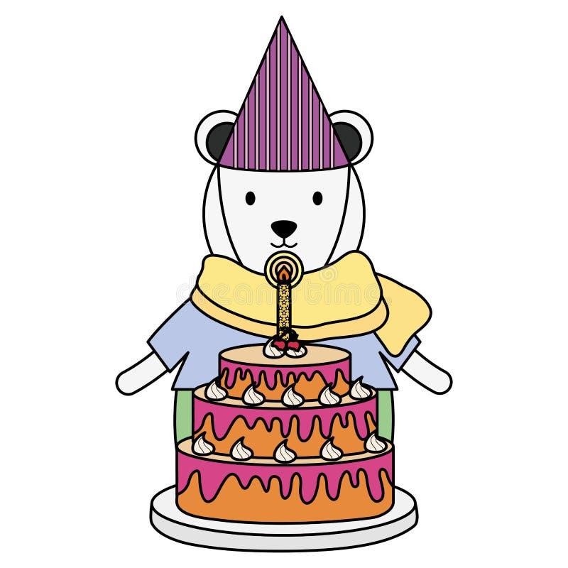 Urso polar bonito com o bolo doce na festa de anos ilustração do vetor