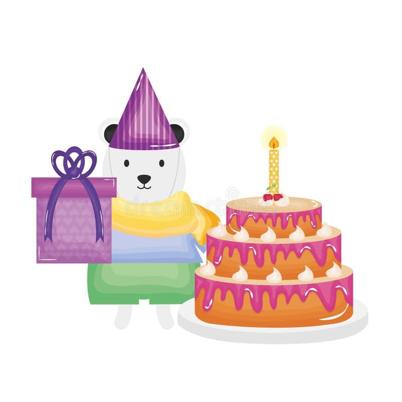 Urso polar bonito com presente e bolo na celebração do partido ilustração do vetor