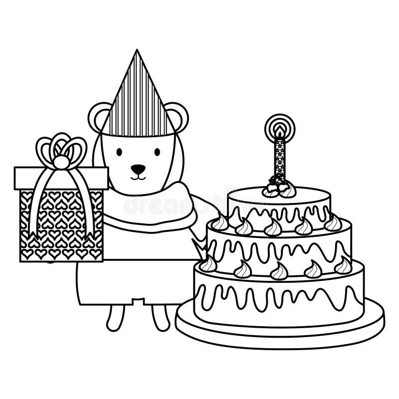 Urso polar bonito com presente e bolo na celebra??o do partido ilustração stock