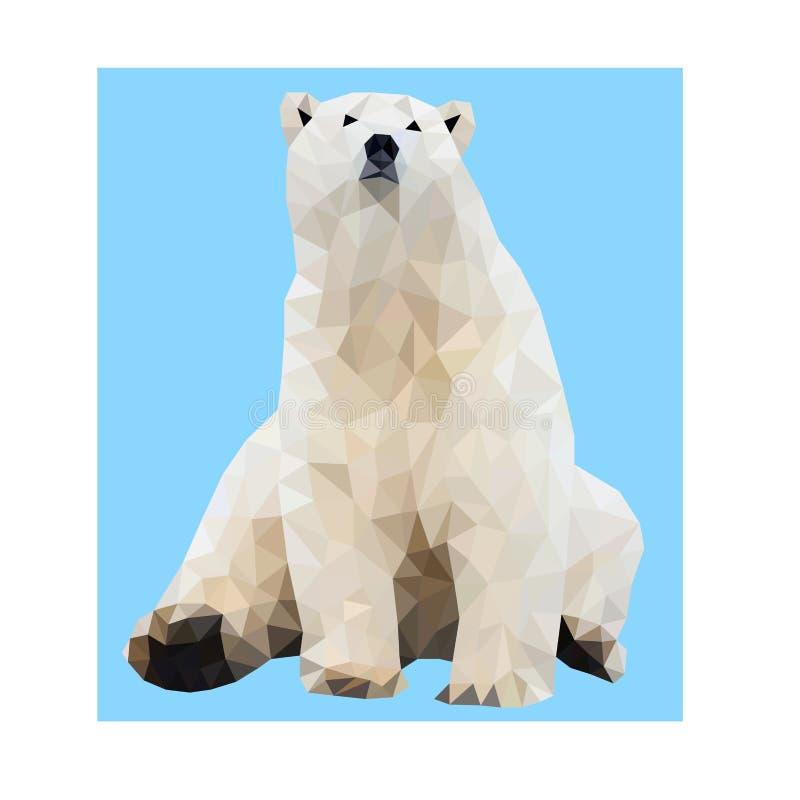 Urso polar bonito do vetor do polígono ilustração do vetor