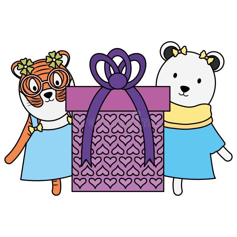 Urso polar bonito e tigre com o presente na festa de anos ilustração royalty free