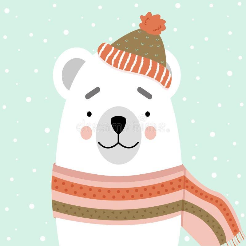 Urso polar bonito em um lenço e em um chapéu Cartão, projeto do vetor ilustração stock