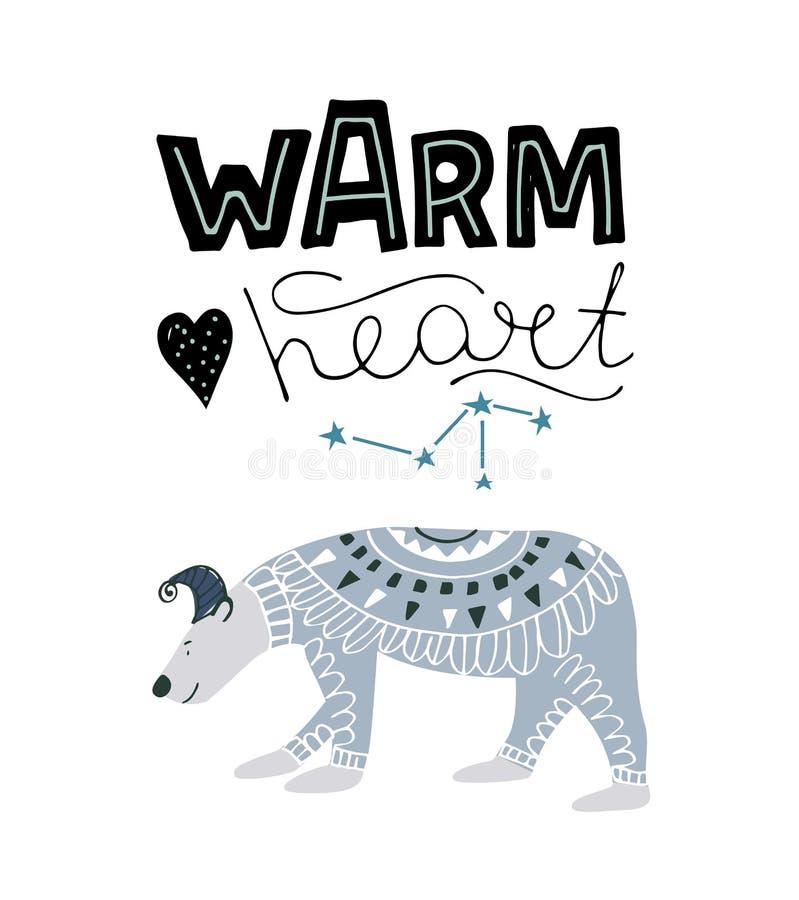 Urso polar bonito Estilo disponivel da tração da ilustração do vetor ilustração stock