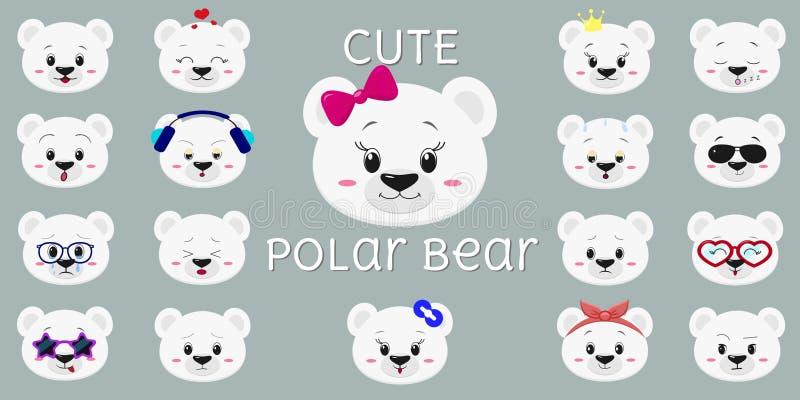 Urso polar bonito, grupo mega de cabe?a de emo??es diferentes Estilo dos desenhos animados, projeto liso, ilustra??o do vetor ilustração do vetor